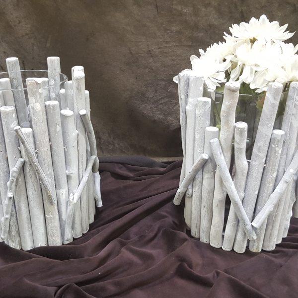 Whitewashed Driftwood Vase Natural Wonders